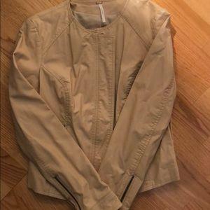 Free People Leather Jacket w/lace detail